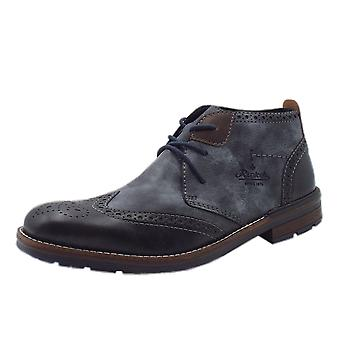 Rieker B1343-14 Otto Men's Winter Fashion Lace Up Boots In Blue