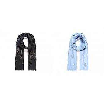 Intrige dames/dames glitter blad sjaal met faux parels