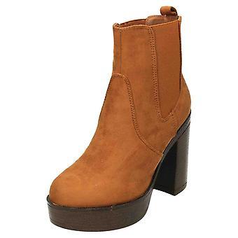 Koi Footwear Block Heel Platform Chelsea Ankle Boots Tan Suede