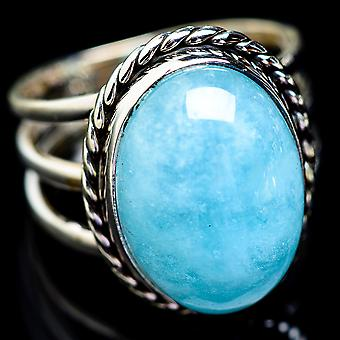 Large Natural Aquamarine Ring Size 11 (925 Sterling Silver)  - Handmade Boho Vintage Jewelry RING2872