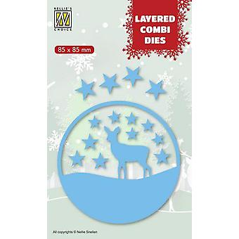 Nellie's Choice Layered Combi Die Christmas deer (Layer C) LCDCD003 85x85mm