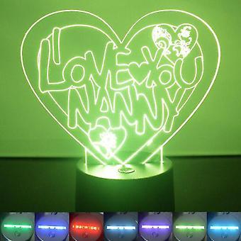 Jeg elsker deg Nanny hjertet farge skiftende LED akryl lys