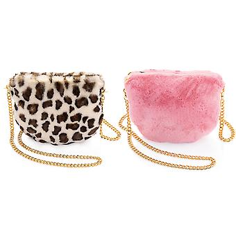 Fluffy Baby Pink Colour Faux Fur Hand Bag Clutch With Gold Chain