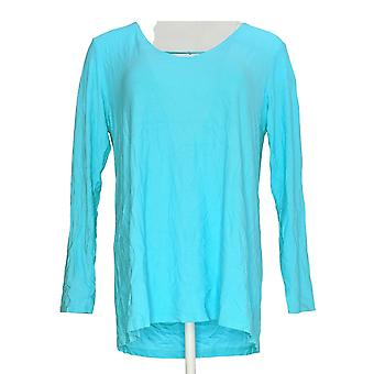 Women with Control Women's Top Drape Back Crepe Jersey Knit Blue A290737