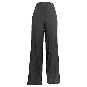 Denim and Co. Women-apos;s Pants Beach Pull On Wide Leg Black A305631