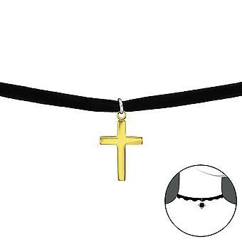 الصليب - 925 الجنيه الاسترليني فضة + المخملية الخانقات - W34591x