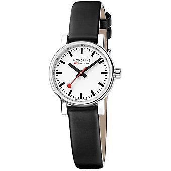 Mondaine EVO2 Petite pulseira de couro preto senhoras Watch MSE.26110.LB 26mm