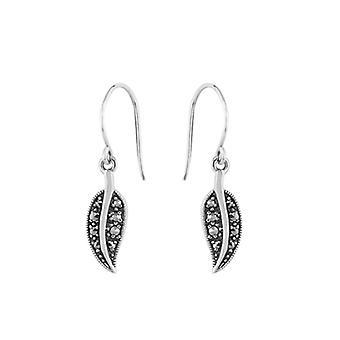 Art Nouveau Style Round Marcasite Drop Earrings in 925 Sterling Silver 214E696701925