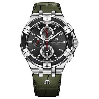 Maurice Lacroix Aikon Chronographe | Sangle en cuir vert | Montre Cadran noir AI1018-PVB21-330-1