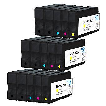 3 Go Blæk kompatibelt sæt med 4 + ekstra sort til at erstatte HP 932 Printer blækpatron (15 blæk) - Sort, Cyan, Magenta, Gul Kompatibel / ikke-OEM til HP Officejet Printere