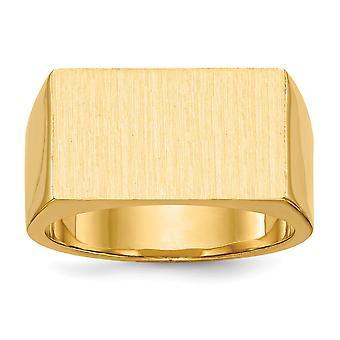 14k Sarı Altın Cilalı Gravürlü Erkek Signet Yüzük Boyutu 10 Erkekler için Takı Hediyeler - 15,1 Gram