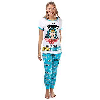 Women's DC Comics Wonder Woman Pyjamas in White