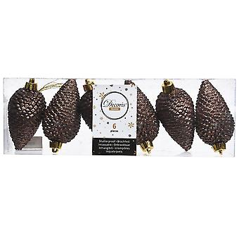 6 8cm Chocolade Bruine Dennenappel Opknoping Tree Ornaments