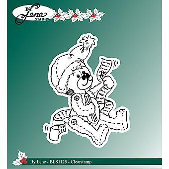 Av Lene Christmas Teddy Bear Klart Stempel