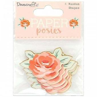 Dovecraft Paper Posies Wooden Shapes Roses