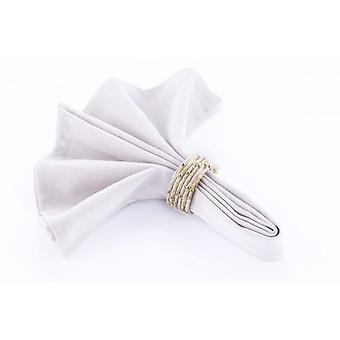 Napkin Ring Beaded Cream/Crystal/Gold - Set Of 4 Pieces