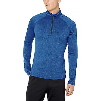 Peak Velocity Men's Thermal Long Sleeve Quarter-Zip, Bleu, Taille Grande