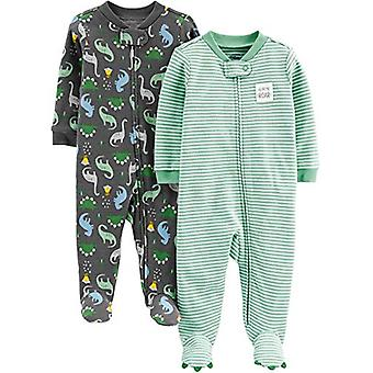 Simple Joys by Carter's Boys' 2-Pack Cotton Footed Sleep and Play, Dino/Strip...