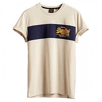Superdry VL Panel T-Shirt Ecru Marl 43D
