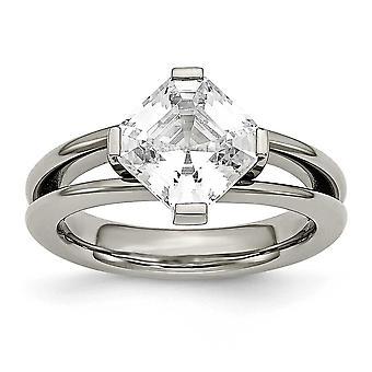 Titan poliert CZ Zirkonia simuliert Diamant Ring Schmuck Geschenke für Frauen - Ring Größe: 6 bis 8
