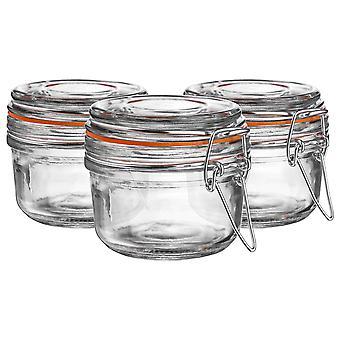 Argon Tableware Glass Storage Jars with Airtight Clip Lid - 125ml Set - Orange Seal - Pack of 3