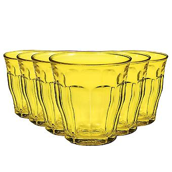 Duralex Picardie Coloured Glasses - 250ml Tumblers for Water, Juice - Yellow - Pack of 6