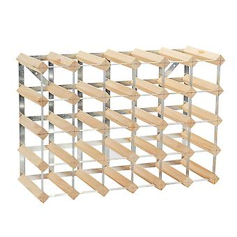 30 Bottle Wine Rack - Fully Assembled - Light Wood