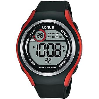 Lorus Mens Soft Black Silicone Strap Digital Watch (Model No. R2379LX9)