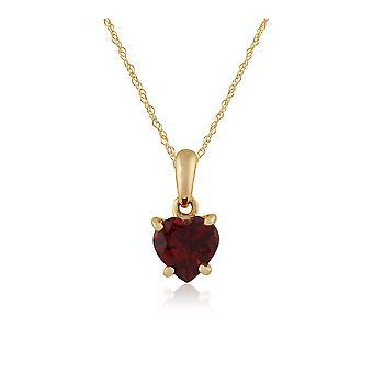 klassisk hjerte granat anheng halskjede i 9ct gult gull 135P1463029
