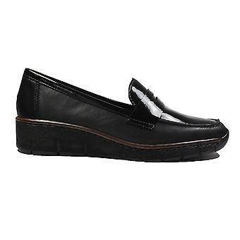 Rieker Doris 53732-00 Schwarz Patent/Leder Damen Slip auf Loafer Schuhe