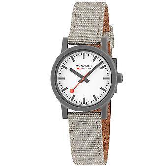 Mondaine Essence Quartz White Dial Grey Textile Strap Ladies Watch MS1.32111.LH