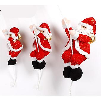 Christmas Scene Decoration Climbing Rope Santa Claus Hanging Pendant Plush Doll Toy