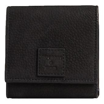 Superdry Leather Short Fold Purse - Black Nubuck