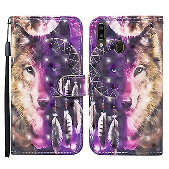 For Samsung Galaxy A20e / A10e Colored Drawing Pattern Horizontal Flip Leather Case with Holder & Card Slots & Wallet(Wind Chime Wolf)