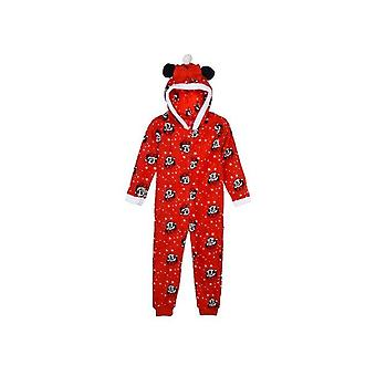 Girls Onesie TH2162 Disney Minnie Mouse Fleece Hooded Sleepsuit