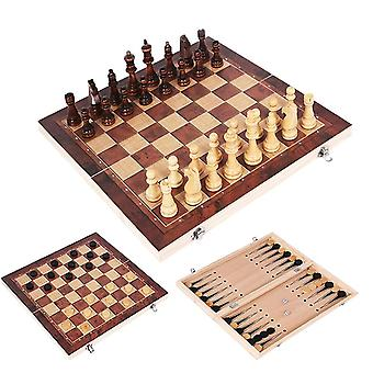 Chess Set Wooden Game, Backgammon Checkers Indoor Travel, Folding Chessboard