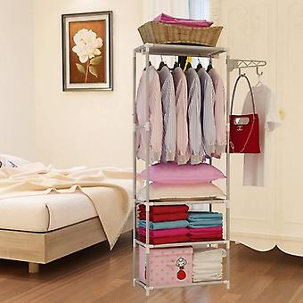 Removable Bedroom Hanging Clothes Rack With Wheels Floor Standing Coat