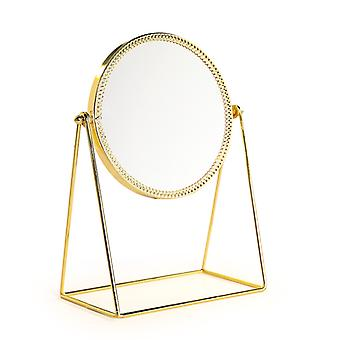 Homemiyn Phnom Penh Foldable Jewelry Single-sided Cosmetic Mirror Golden Portable Classical Cosmetic Mirror
