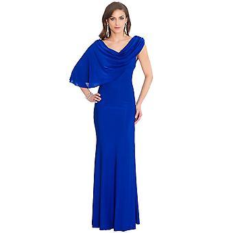 Blue grecian drape maxi dress