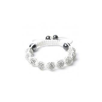 Clear Crystal Pave Shamballa Bracelet With White Cord 9 Disco Balls 10mm