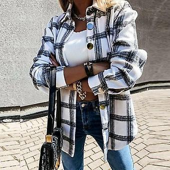 Dlouhý rukáv kostkovaná bunda ženy podzim zima oversized kabát
