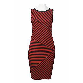 Contrast Stripe Print Ponte Sheath Dress