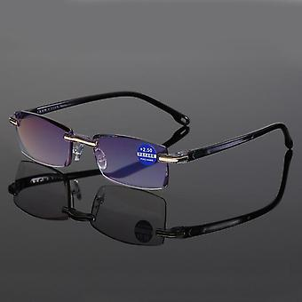 Reading Glasses Women Men Square Frameless Presbyopic Glasses Diopters +1.0 1.5
