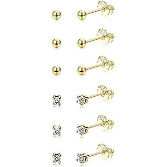 Sllaiss 6 Pairs Sterling Silver Tiny Ball Stud Earrings for Women Girls