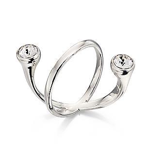 Elemente Silber Frauen's 925 Sterling Silber schwimmenden klaren Kristall von Swarovski Ring