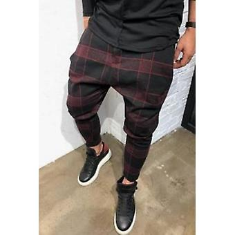 Mens Slim Fit Stretch Flat-front Skinny Pants Plaid Fashion Slim Fit Trousers