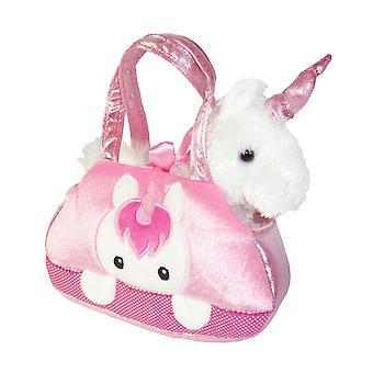 Kinder rosa und weiß Einhorn in einer niedlichen Tasche