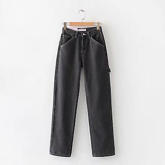 קיץ מזדמנים ג'ינס, אישה מכנסיים ארוכים, קאובוי נקבה רופף בגדי רחוב, גבוה