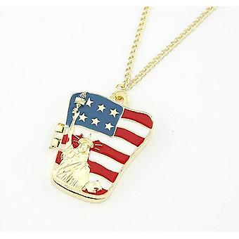 Statue of Liberty American Flag Pattern Necklace Unisex Clothing Accessories