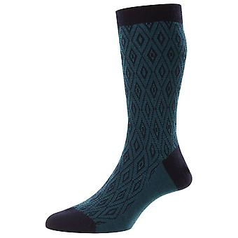 Pantherella Durio Diamond Jacquard Merino Wool Socks - Marinha